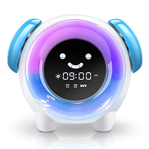 BestXiuyi Children Sleep Training Alarm 7 Changing Colors Teach Kids Time to Wake Up, Rechargeable Night Light Clock with 2400mAh Battery Charging USB (Blue),