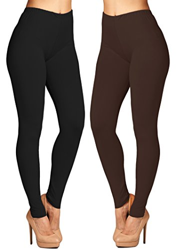 Leggings Mania 2-pk Women's Solid Colored High Waist Leggings Black Brown by Leggings Mania
