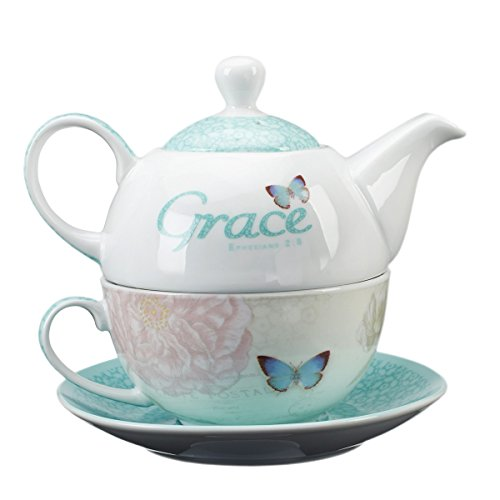 Botanic Butterfly Blessings ''Grace'' Tea-for-One Set by Christian Art Gifts (Image #1)