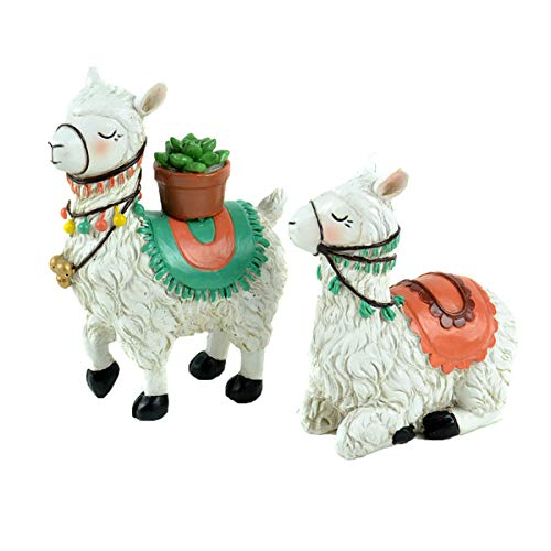 (Clever Home Llama Decor Figurines Sets in Poly Resin (Set of 2 Llamas with Cactus - 4)