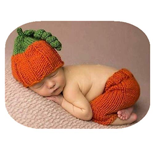 Newborn Baby Photography Shoot Crochet Costume Knitted Christmas Clothes Lovely Boy Girls Pumpkin Hat Pants Photo Props Outfits (hat+pants)