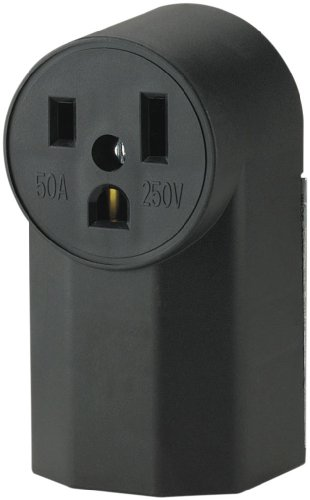 The Eaton WD1252 2-Pole 3-Wire 50-Amp 125-Volt Surface Mount Power Receptacle, Black