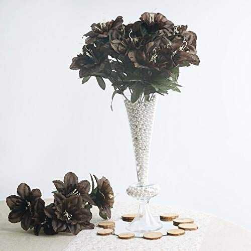 BalsaCircle 72 Chocolate Brown Silk Daffodil Flowers - 12 Bushes - Artificial Flowers Wedding Party Centerpieces Bouquets -