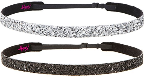 Hipsy 2pk Women's Adjustable NON SLIP Skinny Bling Glitter Headband Silver Duo Pack (Silver & Black)