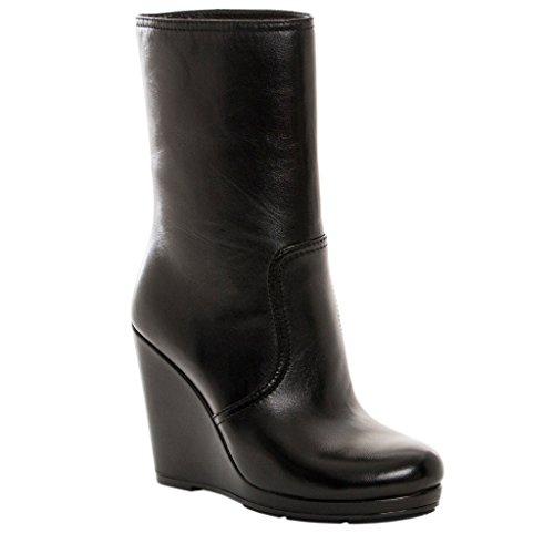 Prada Black Leather Wedges - 6