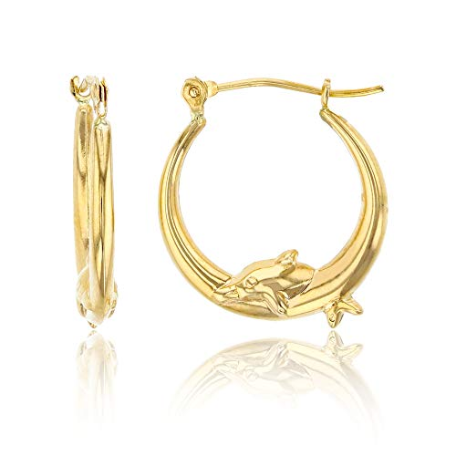 14K Yellow Gold Dancing Dolphin Hoop Earring