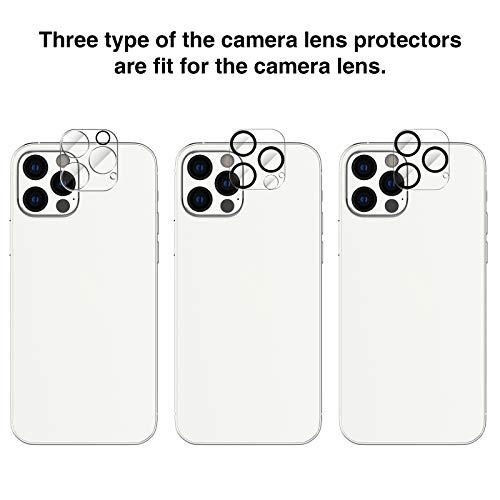 EGV Compatible avec iPhone 12 Pro 6.1 Pouce Verre Trempé,3 Pack Film Protection Écran et 3 Pack Caméra Arrière Protecteur-Noir