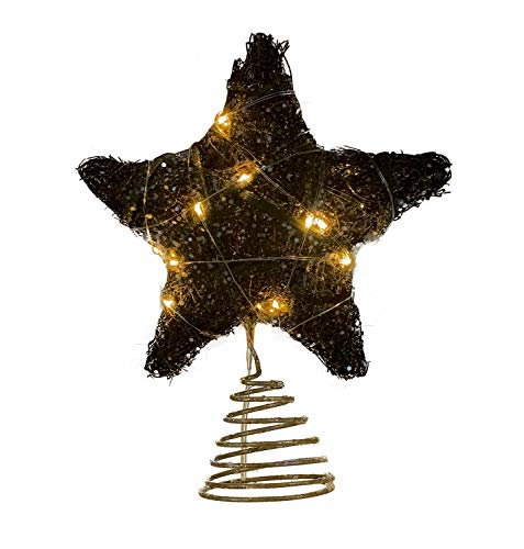 8-Inch Christmas Tree Topper Star, Tradition Xmas Holiday Party Home Decorations Star Treetop Ornament (Christmas Topper Black Angel)