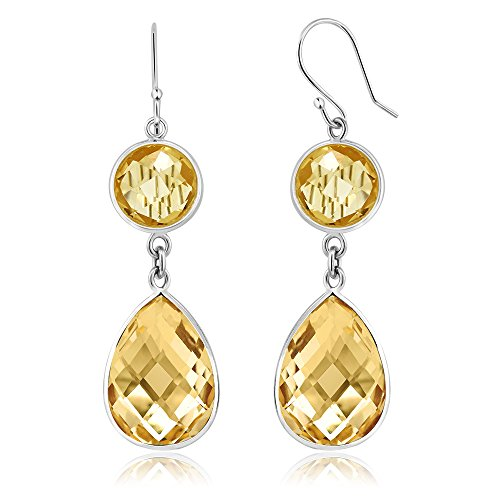 (Gem Stone King 13.00 Ct Citrine 8MM Round With 10X15MM Pear Shape 925 Sterling Silver Earring)