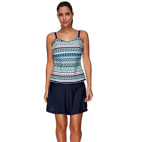 Piece Skirted Tankini 2 (FUVOYA Women's 2 Piece Tankini Top With Skirted Bikini Bottom Swimsuit Set Blue 3XL)