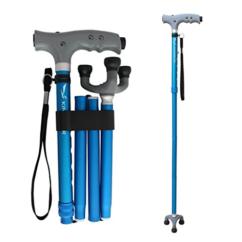 KingGear Travel Adjustable Folding Canes and Walking Sticks for Men and Women - Led Light and Easy Grip Handle for Arthritis Seniors Disabled and Elderly - Best Mobility Aids Cane (Blue)