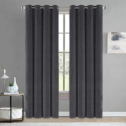 NICETOWN Velvet Textured Curtain Panels - Heavy-Duty Velvet Woven Home Theater Grommet Top Drapes for French Door (2 Pieces, W52xL96 inches, Grey)