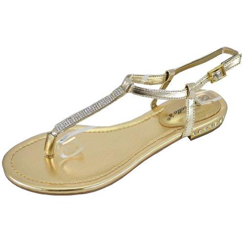 Breckelle Women's Lucy-31 Flat Sandals Gold HxkESrgY
