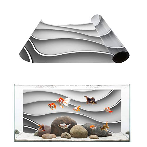 Fantasy Star Aquarium Background Simple Modern Wall Art Wave Lines Pattern Fish Tank Wallpaper Easy to Apply and Remove PVC Sticker Pictures Poster Background Decoration 24.4