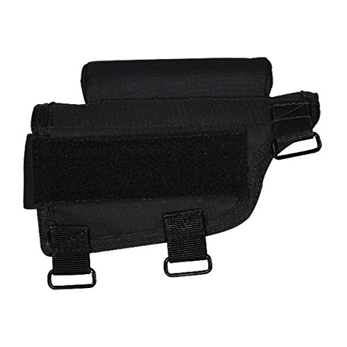 (Voodoo Tactical - Adjustable Rifle Buttstock Cheek Rest - Black Nylon with Ammo Carrier Case)