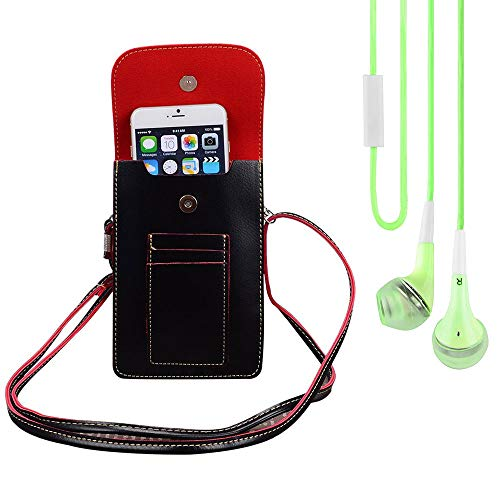 Bundle: Vegan Leather Vertical Crossbody Smartphone Pouch Wallet (Black) & Deluxe Stereo Hands-Free Headset (Green) - for Smartphones up to 6.5-inch, Shoulder Strap, Headphones w/Microphone