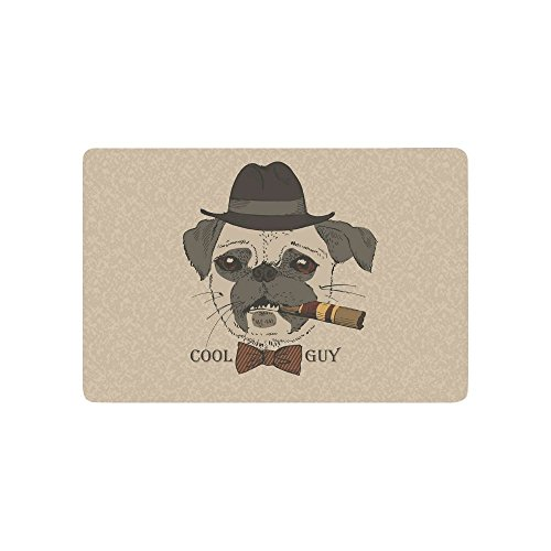 Gangster Guy (Ashasds Cushion Pug-Dog With Cigar Unique Cool Guy Gangster Home Decorations Rug Rectangle Size 23.6x15.7,Multi-function Indoor Outdoor Beautiful Doormat)