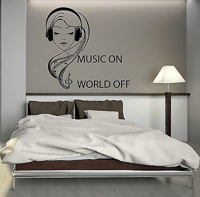 Great Image Unavailable. Image Not Available For. Color: Wall Decal Music  Headphones Teen Girl Room ...