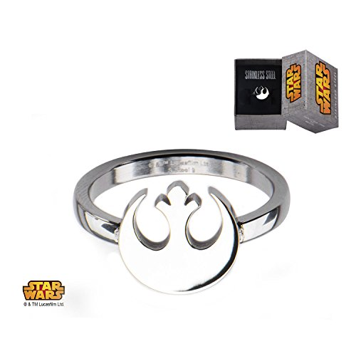 Women's Stainless Steel Star Wars Rebel Alliance Symbol Cut Out Ring Jewelry Box Included Size 9 (Out Ring Cut Symbol)