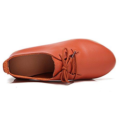 Mocassini In Pelle Causale Lingtom Scarpe Da Donna Piatte Slip-on Per Guida Arancione