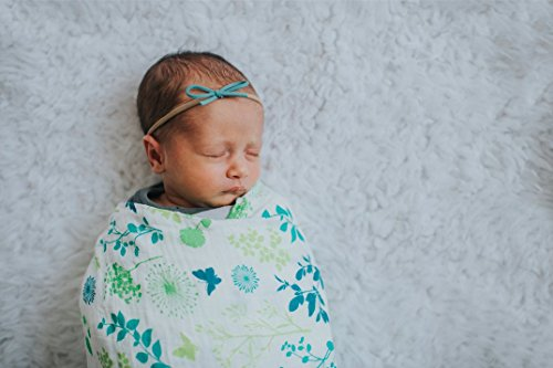Organic Muslin Swaddle Blanket by Margaux & May – Dandelion & Meadow – 47 x 47 inch Ultra Soft Muslin Swaddle Blankets – Perfect Baby Shower Gift