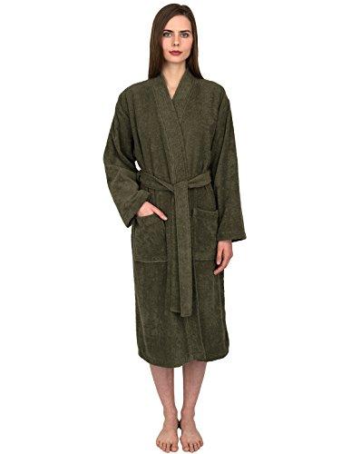 TowelSelections Women's Robe Turkish Cotton Terry Kimono Bathrobe X-Small/Small Dusty Olive -