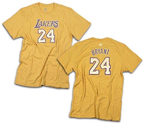 adidas Los Angeles Lakers NBA Mens Kobe Bryant #24 Vintage Logo T-Shirt, Yellow (Medium)