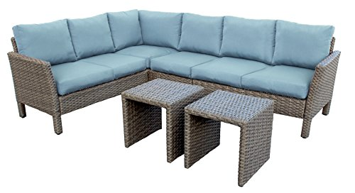 Leisure Made 6 Piece Canton Wicker Sectional, Blue Fabric