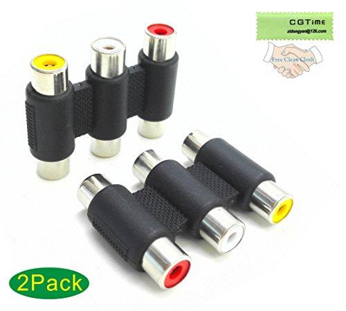 CGTime (2pack)-3-RCA Jacks to 3-RCA Jacks Coupler, Female to Female 3-RCA Adapter White/Red/Yellow (Av Coupler)