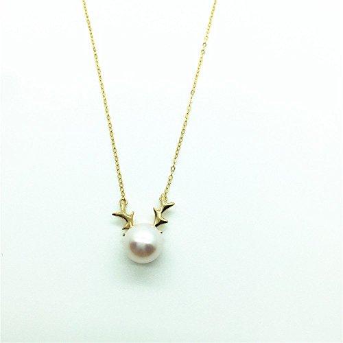 (18K Yellow Gold Japanese Akoya Pearl Necklace White Round Pearl Deer Antlers Buckhorn Pendant)