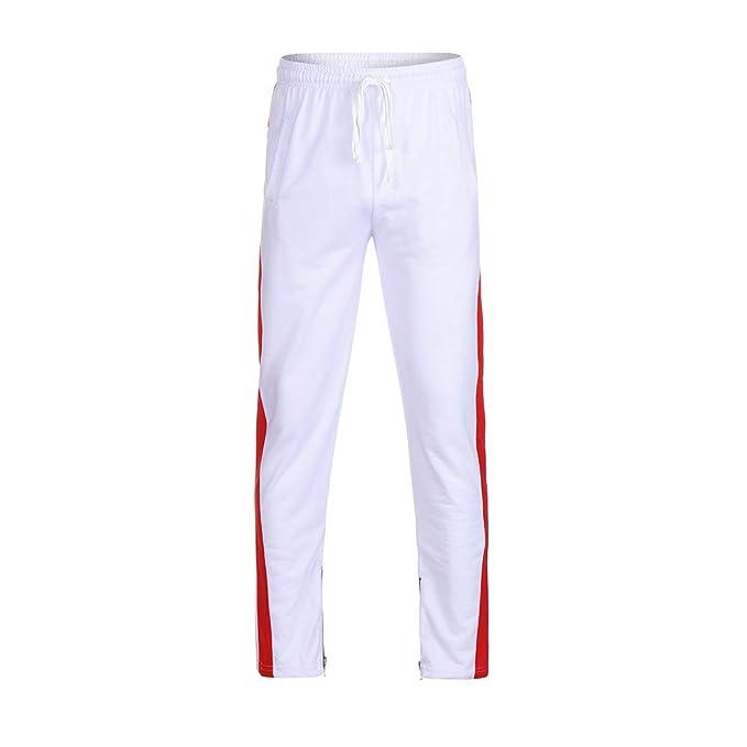 YanHoo Pantalones de chándal para Hombre Pantalones Deportivos elásticos Ocasionales con Rayas a Rayas en los Bolsillos Casuales de Hombre Hip Hop Fitness ...