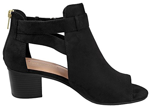 Fashion Chunky Cutout Black Ankle Women's Black City Heel Strap Invest Bootie Mid Classified Side 8qHvTx