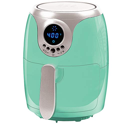 Copper Chef 2 QT Black and Copper Air Fryer – Turbo Cyclonic Airfryer With Rapid Air Technology For Less Oil-Less Cooking. Includes Recipe Book (Teal)