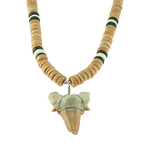 Shark Tooth Pendant on Tan, Black & Natural Coconut Wood Beaded Necklace (3S)