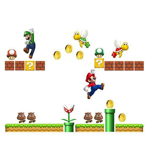 Super Mario Build a Scene Peel and Stick Wall Decal Stickers Wall Decals Stickers DIY Removable Stick Baby Boys Girls Kids Room Nursery Wall Mural Decor ()