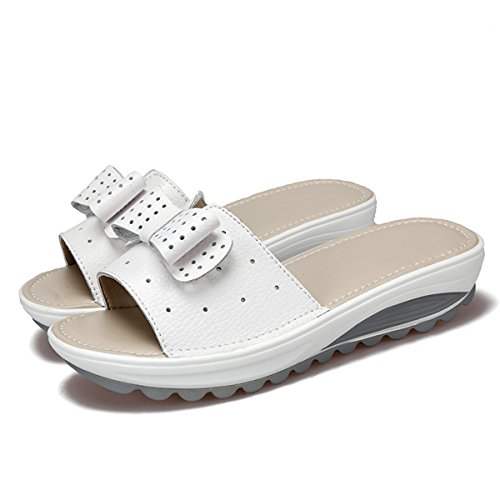 gracosy Women's Ladies Leather Platform Sandals Slip On Slipper Casual Open Toe Summer Shoes Thick Bottom Wedges Sandals Flatforms Beach Holiday Slippers Peep Toe Casual Shoes White ejeLNj