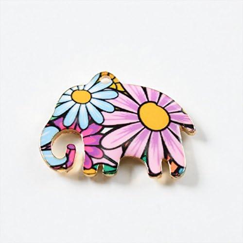 紗や工房 メタルチャーム 花柄象 18mm ピンク 1個 1ヶ ハンドメイド アクセサリーパーツ