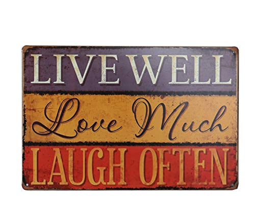 Laugh Tin Sign - Otartu Well-Known Saying 8x12inch Vintage Tin Sign Plate Wall Plaque Decor Live Well Love Much Laugh Often