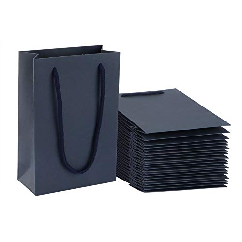 Sdootjewelry Navy Gift Bags, Kraft Paper Gift Bags with Handles, 50 Pack Heavy Duty Matte Tote Paper Bags, 5.1 x 2.4 x 7.5
