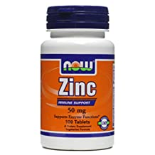 Zinc Gluconate, 50 mg, 100 Tabs by Now Foods (Pack of 6)