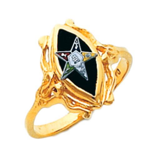 US Jewels And Gems New Ladies 10k Gold Masonic Freemason Eastern Star Ring (Size 8) 10k Gold Eastern Star