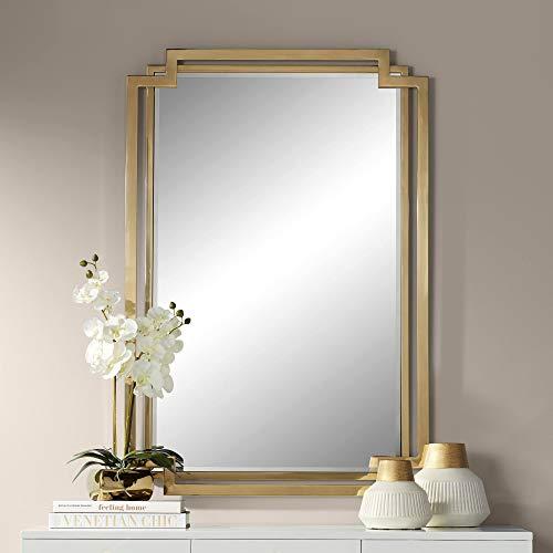 Euro Design Contemporary Mirror - Possini Euro Design Carpathia Gold Steel 30 1/2
