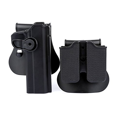 (AUKMONT Tactical Retention Roto Paddle Holster & Double Magazine Pouch for PT1911)