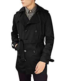 Men Convertible Collar Single Breasted Long Sleeved Trench Coat