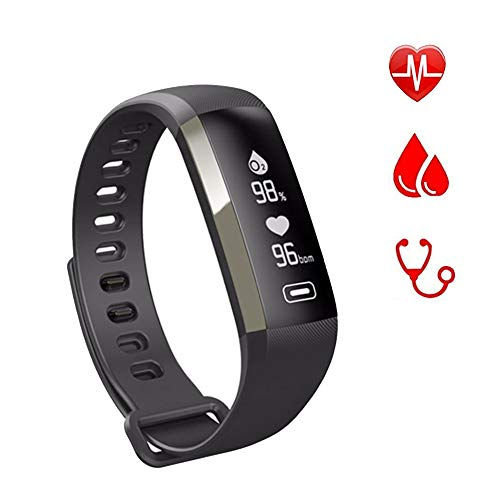 Band R5 PRO Heart Rate Blood Pressure Oxygen Oximeter Sport Bracelet Watch Intelligent for iOS Android-Black ()