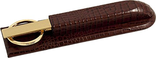 Brown Leather Letter Opener - Brown Crocodile Leather Letter Opener/Scissors Library Set