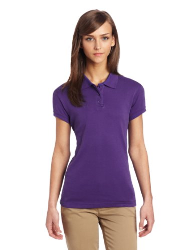 CLASSROOM Juniors Short Sleeve Fitted Polo, Purple, X-Large