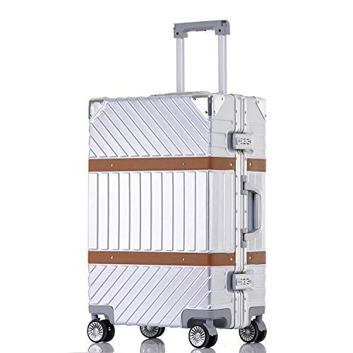 Sindermore Anti-scratch Aluminum frame polycarbonate hard shell trolley luggage suitcase (20 inch, Brushed Silver)