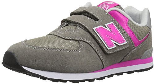 New Balance Girls' 574v1 Essentials Hook and Loop Sneaker,  Grey/Pink, 9 M US Toddler