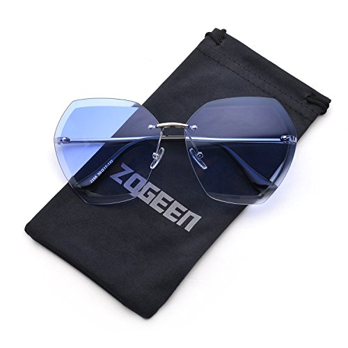 ZOGEEN Oversized Rimless Sunglasses for Women Clear Lens Metal Frame - Best Face For Shape Oval Sunglasses